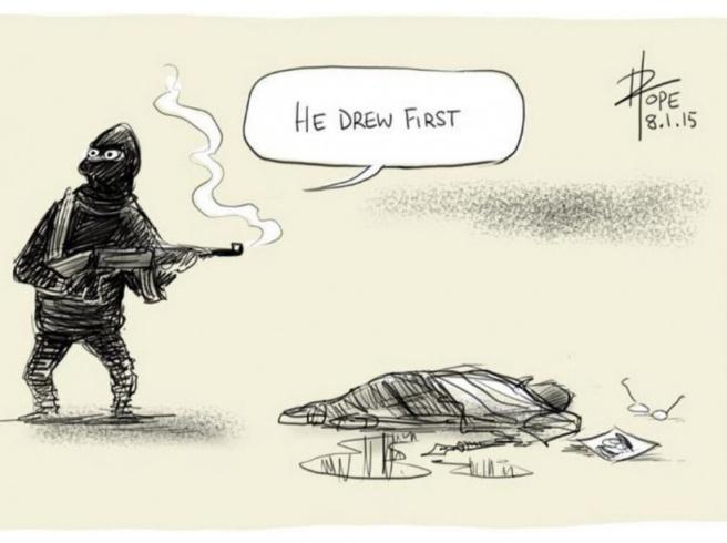 David Pope sur l'attaque de Charlie Hebdo : He drew first